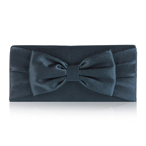 Damara Womens Pretty Bowknot Detail Evening Bridal Bag,Navy Blue
