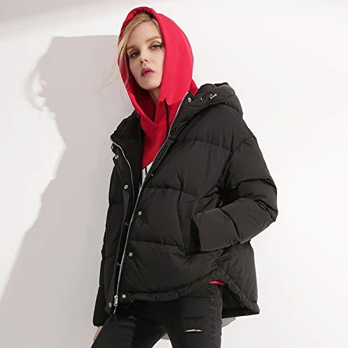 Capuche Avec Top À Jacket Short Noir Femmes Veste Hiver Pour Xcxdx Down Outwear WgfFgUZ
