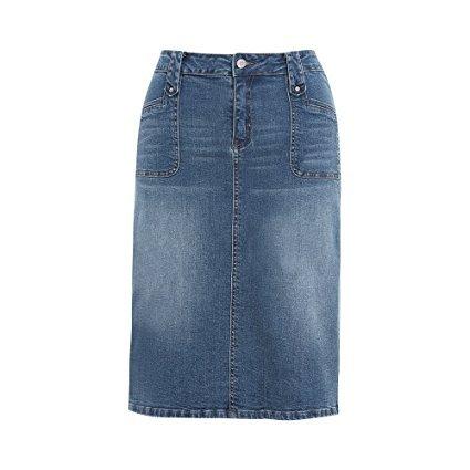 MSSHE Womens Plus Size High Waist Stretchy Pencil Denim Midi Skirt