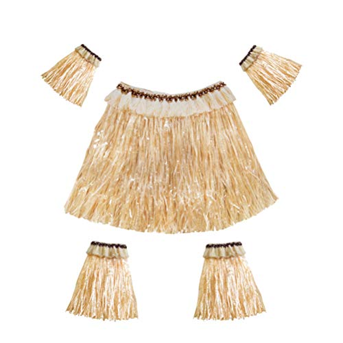 Amosfun Hawaiian Grass Skirt Set Arm and Leg Bands Elastic Costume Party Accessory Performance Costume 5pcs (Straw Color) ()
