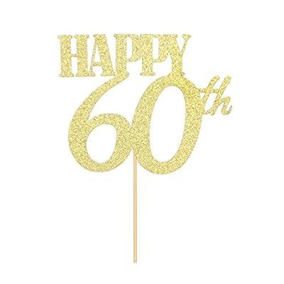 Gold Glitter Happy 60th Cake Topper 60th Birthday, Wedding,Anniversary Retirement Party Decoration