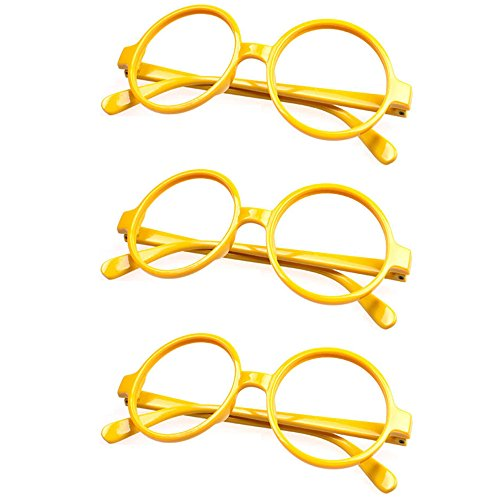 FancyG® Retro Geek Nerd Style Round Shape Glass Frame NO LENSES Costume Eyewear 3 Pieces Set - Yellow x - Geek Glasses Best