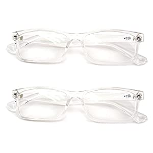 2 Pairs Casual Fashion Rectangular Reading Glasses - Stylish Simple Readers Rx Magnification (Clear, 2.00)