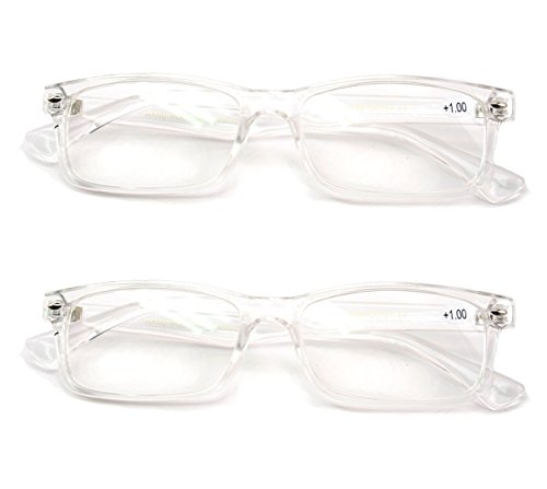 2 Pairs Casual Fashion Rectangular Reading Glasses - Stylish Simple Readers Rx Magnification (Clear, - Glasses Clear Reading Frames