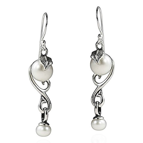 (Vintage Inspiration Filigree Leaf Vines Cultured Freshwater White Pearl Drop .925 Sterling Silver Dangle Earrings )