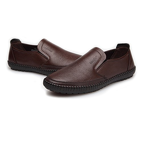 on Color Uomo Flat Vera tonda Xiaojuan Scarpe di EU Punta Sole Loafer Marrone Soft shoes superiore Scarpe Marrone Classiche vacchetta da Dimensione 41 Slip uomo pelle Pelle Ow1qHOC