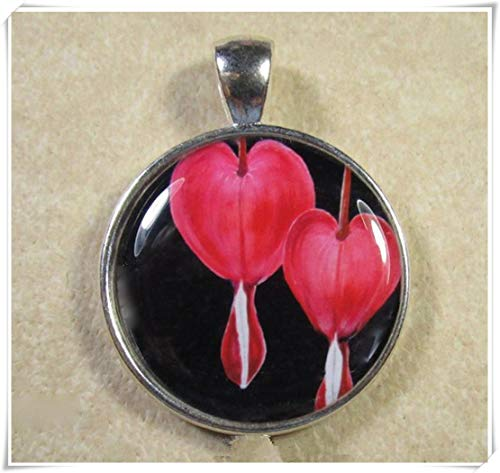 A little little love Bleeding Heart Pendant, Bleeding Heart Jewelry, Red Bleeding Heart Necklace, Old Fashioned Red Flowers Necklace, Red Flower Pendant ()