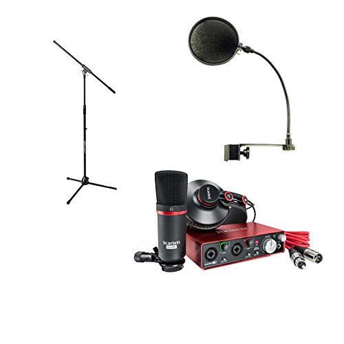 Focusrite SCARLETT Studio Pack w/CM25 Microphone, Headphones, 2i2, Code for Software Bundle Mic Cable, Boom Stand, and Pop Filter (Vst Plug Compressor In)