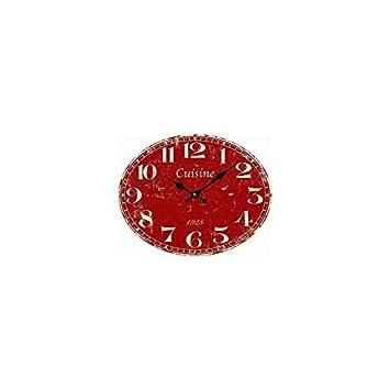 Horloge Pendule Cuisine Rouge Amazonfr Cuisine Maison