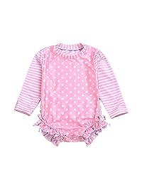 7427e4b62dc38 Baby/Toddler Girl Swimsuit Long Sleeve One-Piece Swimwear Rashguard UPF 50+  Sun