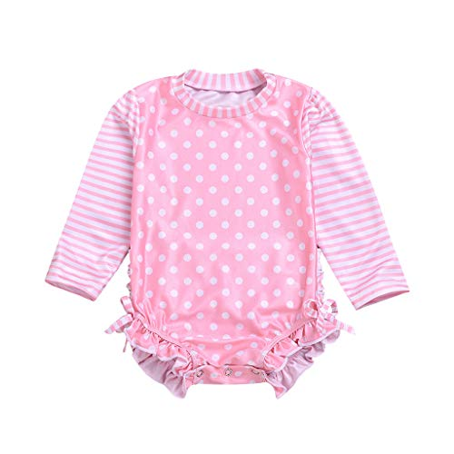 Long Sleeve Swimwear for Baby Girl Striped Dot Ruffle Crewneck Sun Protection Swimsuit (Pink, Recommend Age:0-6 Months)