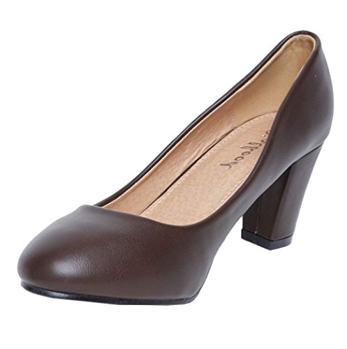 Womens Ladies Faux Leather Slip On High Block Heel Mary Jane Smart Formal Pumps Court Shoes - K80 Brown B2LL8p09A