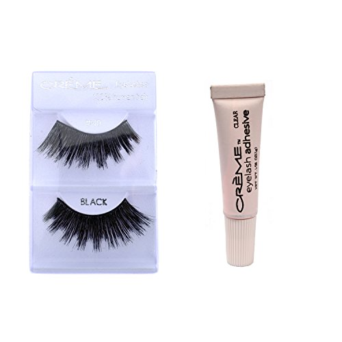 6 Pairs Crème 100% Human Hair Natural False Eyelash Extensions Black #40 Dark Full