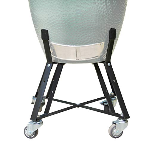 Rolling Cart Nest With Heavy Duty Locking Caster Wheels Powder Coated Steel Rolling Outdoor Cart For Large Big Green Egg Kamado Classic Joe Grill Stand Cooking Accessories Raise Egg Round Pit