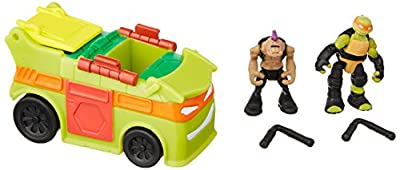 "Teenage Mutant Ninja Turtles Micro Mutant Party Van with 1.15"" Scale Super Ninja Michelangelo & Bebop Figures Vehicle"