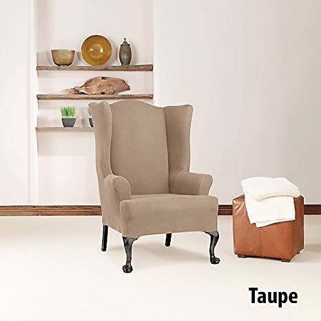 Sure Fit Simple Stretch Twill   Wing Chair Slipcover   Chocolate (SF44472)