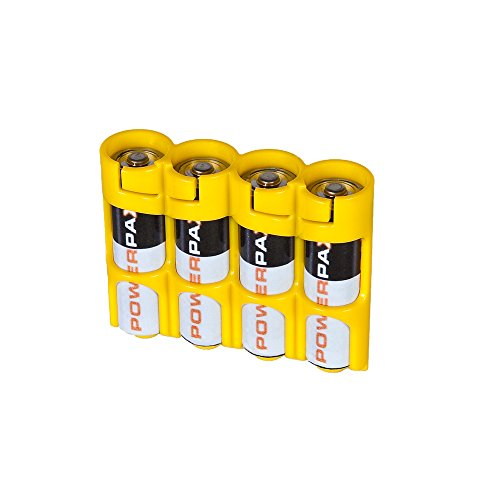 Storacell by Powerpax SlimLine AA Battery Caddy Yellow, Holds 4 Batteries