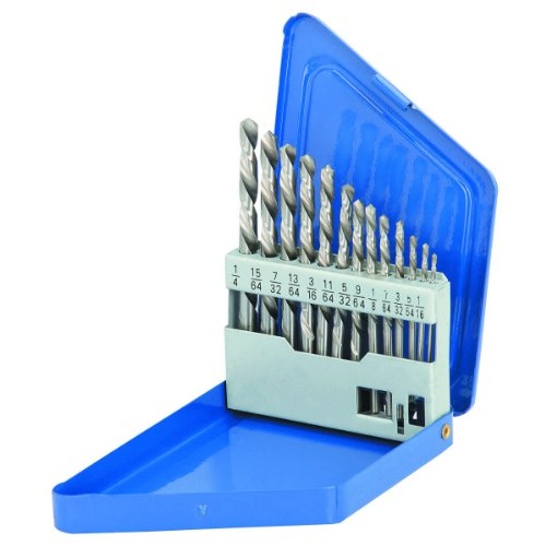 - 13 Piece Left-Hand Drill Bit Set HSS Double Flute