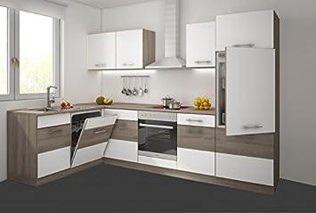Küche Köln 172x280 cm Küchenzeile in Sonoma Eiche Trüffel + Weiss ...
