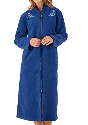 Slenderella Womens Zip Up Dressing Gown Soft Boucle Fleece Embroidered Housecoat XXL (Navy)