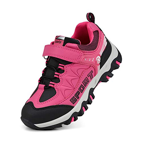 MARSVOVO Girls Sneakers Waterproof Running Hiking Tennis Shoes Pink 3.5 M US