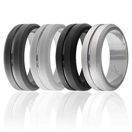 (ROQ Silicone Wedding Ring for Men, Set of 4 Elegant, Affordable Silicone Rubber Wedding Bands, Brushed Top Beveled Edges -Black, Grey, Silver, Light Grey - Size 9)