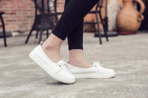 LILY999 Women's Casual Flat Shoes Slip On Lace-up PU Leather Loafers Comfortable Driving Shoes Boat Shoes White vp31ZzCs6v