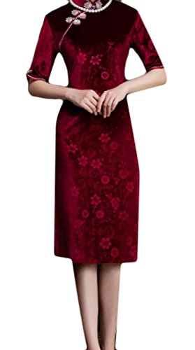 Women Half Sleeve Dress Collar Mandarin 2 Evening Chinese Comfy Cheongsam dqF15Zd