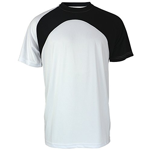 Mens Short Sleeve Performance Shirt Lightweight Athletic Running Sport Dry fit Tee Shirts S-3XL (L, White 012)