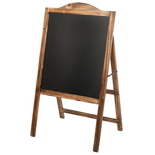 MyGift Natural Wood A-Frame Erasable Chalkboard Easel Sign, Freestanding Sidewalk Menu Board