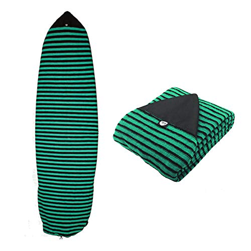 - Ultrafun Surf Board Sock Cover Strentch Knit Point Nose Surfboard Sock Bag 6ft/6.6ft/7ft/8ft (Green Stripe, 6ft)