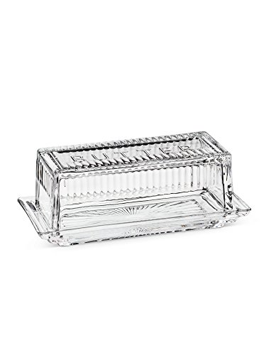 Retro 50'S Chic Clear Glass Quarter Lb Butter Dish With Cover 7