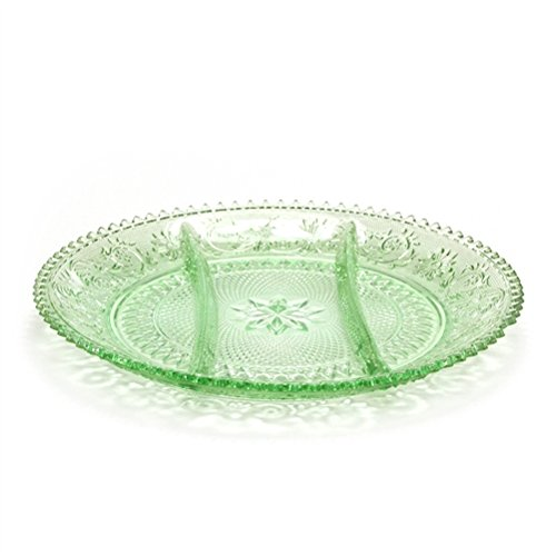 Green Glass Relish - Sandwich Light Green by Tiara, Glass Relish Dish, 3-Part