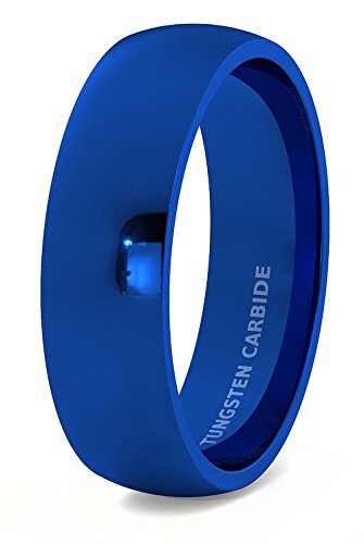 Mens Wedding Band Tungsten Ring 8mm Blue Polished Dome Comfort Fit (11)