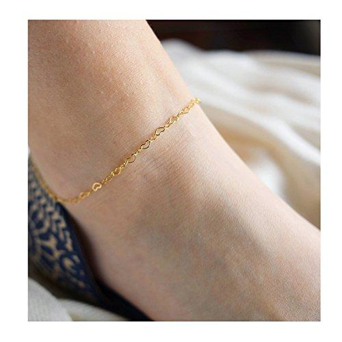 Fettero Women Handmade Dainty Heart Chain Anklet 14K Gold Filled Adjustable Boho Beach Foot Chain Ankle Bracelet - Gold Heart 14k Anklet