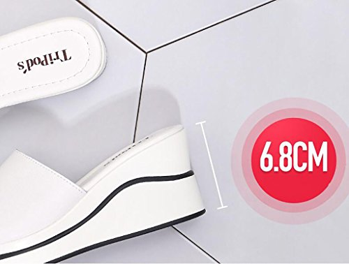 sandals sandals non sandals wear B and white C and 37 Flat summer Color sandals slippers slip and fashion wild Sandals women's Size Wedges Fashion slippers slippers wq7d4nI7v6
