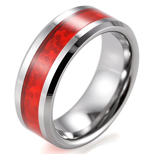 SHARDON Men's 8mm Beveled Tungsten Ring with Red Opal Pattern Inlay Size 8.5 (Opal Inlay Ring)
