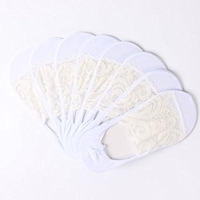 Maivasyy 8 paires de chaussettes Femmes Chaussettes Bateau furtif Printemps et été section mince Coton Femme Bas dentelle Blanc Chaussettes, antidérapant