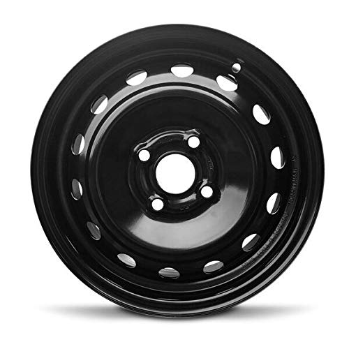 Road Ready Car Wheel For 2006-2012 Toyota Yaris 14 Inch 4 Lug Black Steel Rim Fits R14 Tire - Exact OEM Replacement - Full-Size Spare