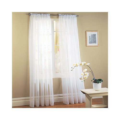 Elegant Comfort voile84 Window Curtains Sheer Panel with 2-Inch Rod Pocket, 60 Width X 84-Inch Length – White
