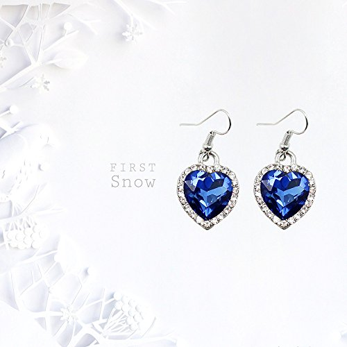 Sets Fashion Jewellery Ocean Heart 925 Crystal Sapphire Set