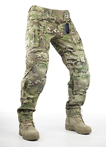 Survival Tactical Gear Pants with Knee Pads Hunting Paintball Airsoft BDU Military Camo Combat Trousers for Men (Multicam, L) ()