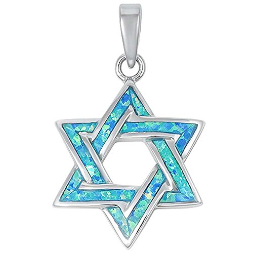 Lab Created Blue Opal Star Of David .925 Sterling Silver Pendant 13843 (Lab Star Created Silver)