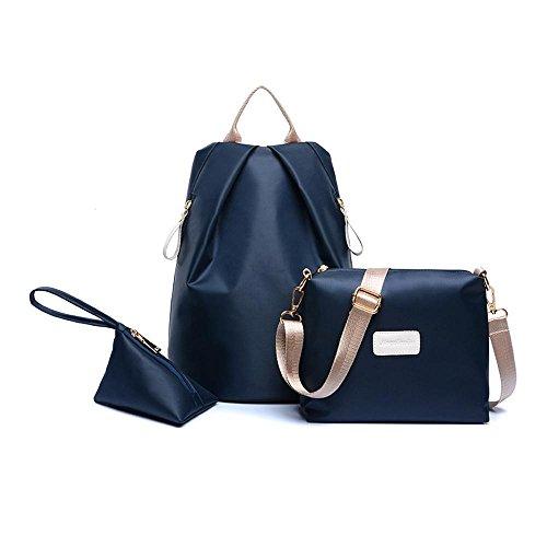 Aoligei Mode double sac à bandoulière en nylon imperméable à l'eau trois pièces kit lady sac à dos D