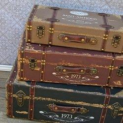 Amazon.com: Vintage Trunk, Antique Luggage Suitcase, Set of 3 ...