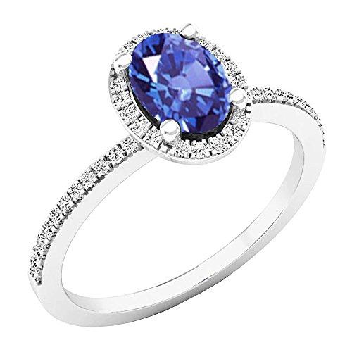 Dazzlingrock Collection 10K 7X5 MM Oval Tanzanite & Round Diamond Bridal Halo Engagement Ring, White Gold, Size 7.5 ()