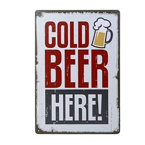 - Potelin Premium Quality 20 x 30CM Vintage Metal Tin Sign Wall Plaque Poster Cold Beer Here for Cafe Bar Pub Beer Club Wall Home Decor