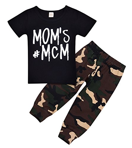 Seven Young Newborn Infant T-Shirt Tops + Camouflage Pants Baby Boy Letter Outfits Clothes Spring (Black, 18-24 Months)