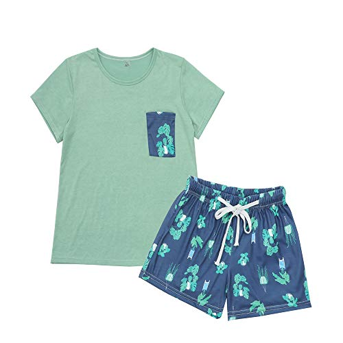 (YIJIU Women Short Sleeve Tee and Shorts Pajama Set Cute Cartoon Print Sleepwear)