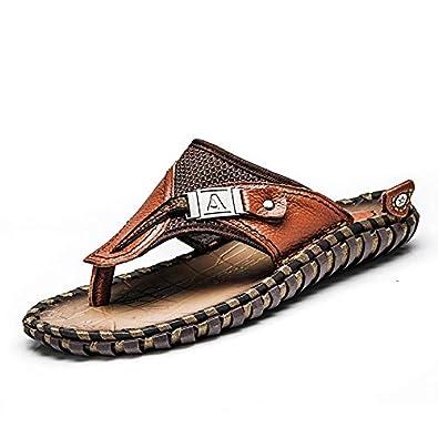 2d9682726f4 Amazon.com  ENLEN BENNA Men s Beach Flip-Flops Leather Thong Sandals Men  Bottle Opener Flip Flops Summer Outdoor Fisherman Slippers  Shoes
